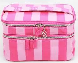 pink striped makeup cosmetic bag
