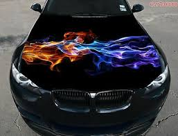 Gold Blue Flame Car Truck Suv Hood Full Color Graphics Wrap Decal Vinyl Sticker Ebay