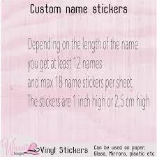 Vinyl Name Sticker Sheet Lunch Box Decal Custom Name Sticker Wiccat Designs