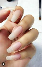 natural nails with acrylic overlay on