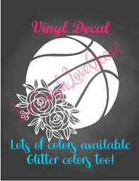 Basketball Decal Floral Basketball Decal Basketball Car Decal Coach Gift Girls Basketball Sticker Basketball Mom Team Laptop Sticker By Live Laugh Love Ocean Catch My Party