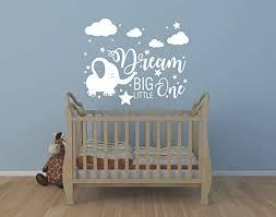 Amazon Com Yyart Elephant Nursery Wall Decal Dream Big Little One Decal Elephant Sticker Baby Boy Girls Room Decor Nursery Decals Cloud And Star Nursery A42 White Home Kitchen