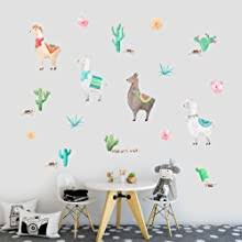Iarttop Watercolor Llama Wall Decal Funny Alpaca Sticker For Kids Bedroom Decoration Tropical Cactus Flower Window Cling Decor And Nursery Room Decor 29 Pcs Multicolor Decals
