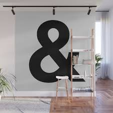 Ampersand Black And White Monochrome Helvetica Typography Poster Design Home Wall Bedroom Decor Wall Mural By Themotivatedtype Society6