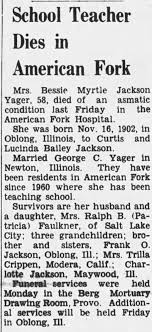 Obituary for Bessie Myrtle Jackson Yager (Aged 58) - Newspapers.com