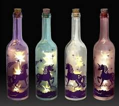 led glass unicorn wine bottle light