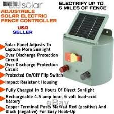 New Solar Powered Electric Fence Charger Farm Adjustable Controller
