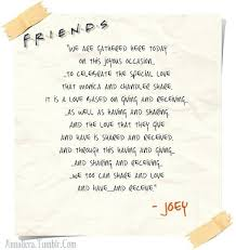 joey s wedding speech from friends if i ever get married one of