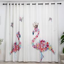 Flamingo Butterfly Girly Pink Floral Window Curtain For Little Girls Kids Room