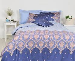 damask duvet cover set blue damask