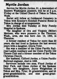 Obituary for Myrtle Jordan (Aged 91) - Newspapers.com
