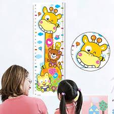Junshi11 Cartoon Giraffe Growth Height Chart Measurement Wall Sticker Kids Bedroom Nursery Ruler Wall Decor Multicolor Growth Charts Kids Room Decor