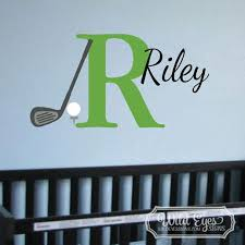 Monogram Golf Sport Theme Vinyl Wall Decal Golf Club And Tee
