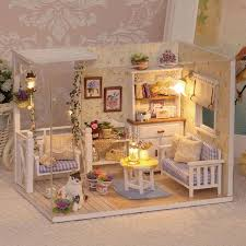 Subcluster 1 Set Diy Mini House Handmade Wooden Cute Cat Room Model With Furniture Kids Toy House Room Cute Roomhandmade House Aliexpress