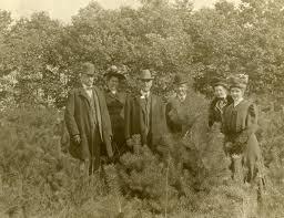 Bentley Image Bank, Bentley Historical Library: William Waite, Dean Myra  Jordan, Regent Hill (Lit. Col.) Henry M. Bates, Mrs. Waite, Mrs. Bates at  the Forestry Farm, 1910?