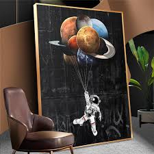 Best Price 335d Astronaut Outer Space Oil Painting On Canvas Kids Room Decor Dreaming Stars Poster And Print Wall Pictures For Home Decoration Cicig Co