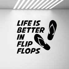 Life Is Better In Flip Flops Wall Decal Beach Poster Wall Stickers Beach Quote Sea Ocean Vinyl Sticker Swimming Pool Decor G486 Wall Stickers Aliexpress