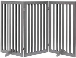 Unipaws Freestanding Extra Tall Pet Gate Folding Wooden Dog Gate Indoor Barrier With 2pcs Support Feet Up To 152cm Wide 91cm Height Grey Amazon Co Uk Pet Supplies