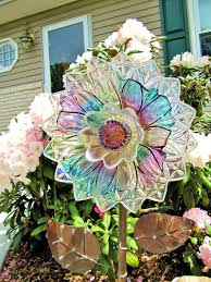 vintage glass plate flower upcycled