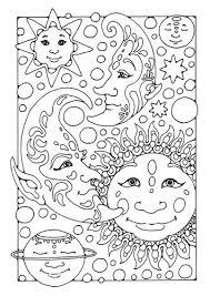 Kleurplaat Zon Maan En Sterren Kleurplaten Abstracte