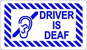 Amazon Com Stickertalk Driver Is Deaf Vinyl Sticker 3 5 Inches By 2 Inches Office Products