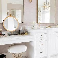 white and gold makeup vanity stool