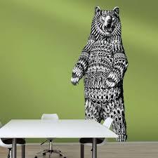 Grizzly Bear Wall Sticker Decal Ornate Animal Art By Bioworkz