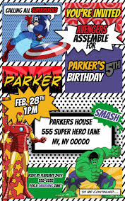 Avengers Superhero Comic Themed Birthday Invitation By