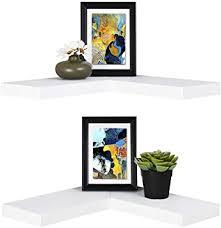 Amazon Com Welland Floating Corner Shelf Set Of 2 White Wall Mounted Display Shelf With Concealed Hardware For Bedroom Kids Room Living Room Bathroom And Kitchen Furniture Decor