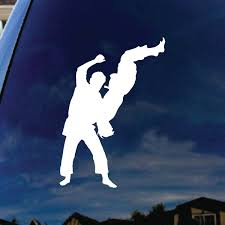 Jiu Jitsu Fighting Silhouette Car Window Vinyl Decal Sticker