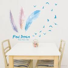 Colorful Feather Flying Birds Wall Stickers Pvc Creative Design Wall Art For Living Room Bedroom And Kids Room Remantic Sticker Murals Diy Wall Decals For Cheap Wall Decals For Girls Room From