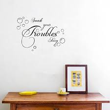 Amazon Com Accent Wall Decor Sticker Bathroom Wall Sticker Lettering Soak Your Troubles Away Bubble Vinyl Wall Decals Art Vinyl Wall Quotes Home Kitchen