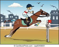 Horse Jumping Cartoon Illustration A Young Cavalier Is Jumping Above An Obstacle