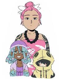 Bewear, Mareanie, and Mimikyu human