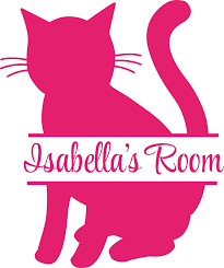 Kitty Cat Cats Silhouette Animal Customized Wall Decal Custom Vinyl Wall Art Personalized Name Baby Girls Boys Kids Bedroom Wall Decal Room Decor Wall Stickers Decoration Size 30x15 Inch