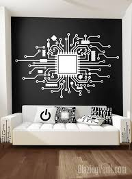 Circuit Board Wall Decal Custom Cpu Wall Sticker Technology Etsy In 2020 Wall Board Wall Decals Circuit Board