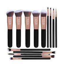 glo makeup brush set 14 pcs rose