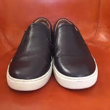 mens slipon sneakers black leather