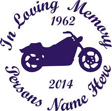 In Loving Memory Motorcycle Design Car Wall Decal Sunburst Reflections