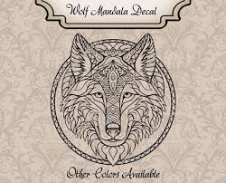 Wolf Decal Zentangle Wolf Decal Mandala Wolf Decal Vinyl Etsy