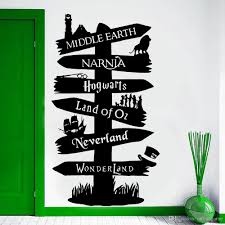 Wall Decal Vinyl Sticker Storybook Signpost Fandom Potter Lord Of The Ring Narnia Peter Pan Typography Door Murals Decal Wall Decal Wall Art From Onlinegame 11 04 Dhgate Com