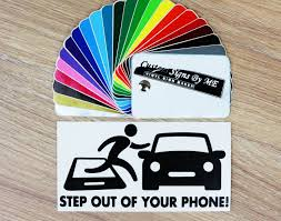Car Safety Sticker Step Out Of Your Phone Etsy