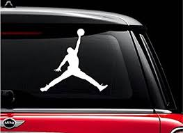 Amazon Com Jordan 1 White 5 Vinyl Decal Sticker For Car Automobile Window Wall Laptop Notebook Etc Any Smooth Surface Such As Windows Bumpers Everything Else