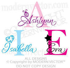 Monogram Personalized Name Vinyl Wall Decal Sticker Girls Nursery With Graphic Vinyl Wall Decals Wall Decal Sticker Wall Decals