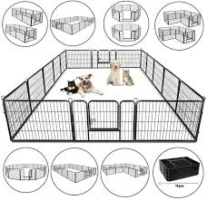 Amazon Com Googgig 24 Height 16 Panel Dog Pen Metal Fence Gate Portable Outdoor Rv Play Yard Heavy Duty Outside Pet Large Playpen Exercise Indoor Puppy Kennel Cage Crate Enclosures Pet Supplies