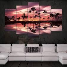 coconut tree ocean at sunst seascape