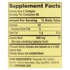 noni softgels 250 mg 120 count