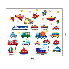 Cars Train Motor Bike Ship Transportation Wall Stickers For Kids Room Decalsart Com
