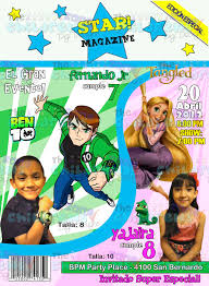 The Childrens Zone Digi Designs Invitaciones Doble Personaje