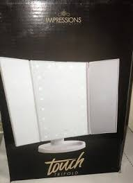 touch white trifold makeup mirror